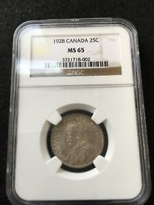 Click now to see the BUY IT NOW Price!   1928   NGC GRADED CANADIAN 25 CENT   MS 65