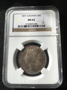 Click now to see the BUY IT NOW Price!   1871   NGC GRADED CANADIAN 50 CENT   MS 62