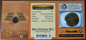 2006 AUSTRALIA 50 YEARS OF AUSTRALIAN TELEVISION $1 UNCIRCULATED COIN