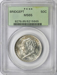 1936 BRIDGEPORT 50C SILVER COMMEMORATIVE HALF DOLLAR PCGS MS65 OGH