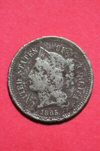 LOW GRADE 1865 THREE 3 CENT LIBERTY NICKEL EXACT COIN FLAT RATE SHIPPING OCE 346