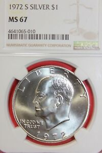 1972 S MS67 40  SILVER EISENHOWER DOLLAR NGC GRADED FLAT RATE SHIPPING OCE1194