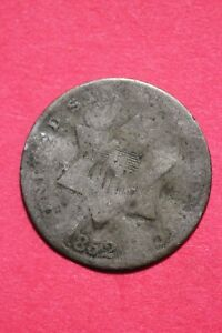 LOW GRADE 1852 P SEATED LIBERTY TRIME 3 CENT SILVER FLAT RATE SHIPPING OCE 005