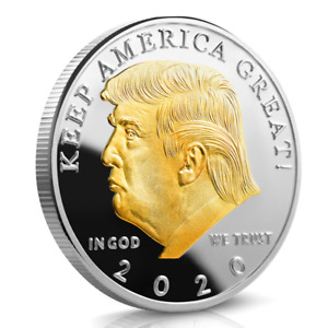 DONALD J. TRUMP 2020 KEEP AMERICA GREAT GOLD&SIVER PLATED 2 TONE EAGLE COIN LWX