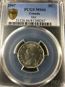 Click now to see the BUY IT NOW Price!   1947 DOT   PCGS GRADED CANADIAN  NICKEL 5 CENT   MS 66