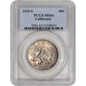 1925 S US CALIFORNIA DIAMOND JUBILEE SILVER COMMEM HALF DOLLAR 50C   PCGS MS64
