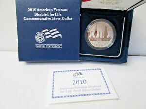 2010 AMERICAN VETERANS DISABLED FOR LIFE PROOF SILVER DOLLAR COMMEMORATIVE