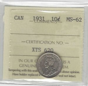 Click now to see the BUY IT NOW Price!   1931   ICCS GRADED CANADIAN SILVER 10 CENT   MS 62