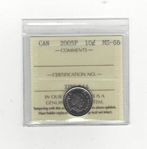 Click now to see the BUY IT NOW Price!   2005P   ICCS GRADED CANADIAN  10  CENT   MS 66
