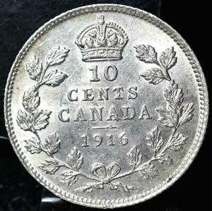 Click now to see the BUY IT NOW Price! 1916 CANADA 10 CENTS SILVER ASW 0.0691 KM23 CAT $100   UNC