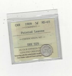 Click now to see the BUY IT NOW Price!   1909 POINTED LEAVES   ICCS GRADED CANADIAN  5 CENT   MS 65