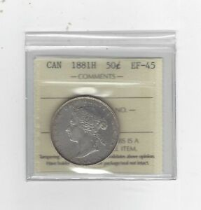 Click now to see the BUY IT NOW Price!   1881H   ICCS GRADED CANADIAN SILVER 50 CENT   EF 45
