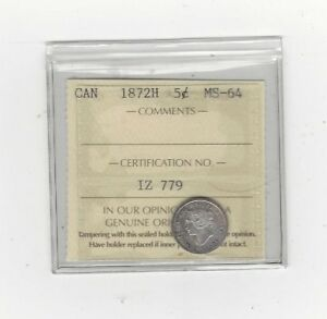 Click now to see the BUY IT NOW Price!   1872H   ICCS GRADED CANADIAN  5 CENT   MS 64