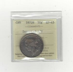 Click now to see the BUY IT NOW Price!   1872H INVERTED A/V   ICCS GRADED CANADIAN 50 CENT   EF 45