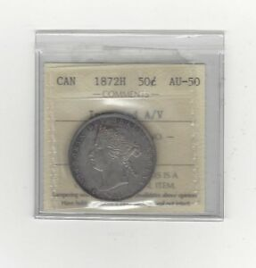 Click now to see the BUY IT NOW Price!   1872H INVERTED A/V   ICCS GRADED CANADIAN 50 CENT   AU 50