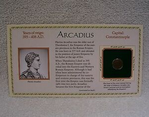 COINAGE OF ANCIENT ROMAN EMPEROR   ARCADIUS  395 408  A.D. GENUINE BRONZE COIN
