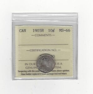 Click now to see the BUY IT NOW Price!   1903H   ICCS GRADED CANADIAN SILVER 10 CENT   MS 66 WOW