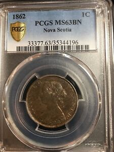 Click now to see the BUY IT NOW Price!   1862  NOVA SCOTIA 1 CENT PCGS GRADED   MS 63