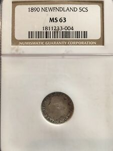 Click now to see the BUY IT NOW Price!   1890   NGC GRADED NEWFOUNDLAND SMALL SILVER 5 CENT   MS 63