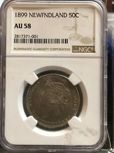 Click now to see the BUY IT NOW Price!   1899   NEWFOUNDLAND 50 CENT NGC GRADED   AU 58