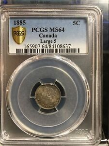 Click now to see the BUY IT NOW Price!   1885 LARGE 5   PCGS GRADED CANADIAN SMALL SILVER FIVE CENT   MS 64