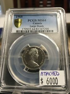 Click now to see the BUY IT NOW Price!   1965 LARGE BEADS  ATTACHED JEWEL    PCGS GRADED CANADIAN  5 CENT   MS 64