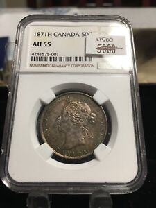 Click now to see the BUY IT NOW Price!   1871H   NGC GRADED CANADIAN SILVER 50 CENT   AU 55