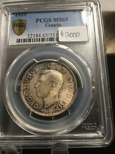Click now to see the BUY IT NOW Price!   1939   PCGS GRADED CANADIAN SILVER 50 CENT   MS 65