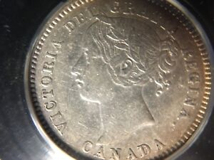 Click now to see the BUY IT NOW Price!   1893 OBV6 ROUND TOP 3   CCCS  GRADED CANADIAN  10  CENT   EF 40