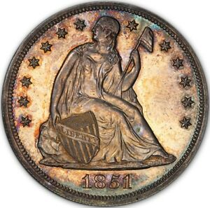 Click now to see the BUY IT NOW Price! 1851 $1 RESTRIKE LIBERTY SEATED DOLLAR PCGS PR63