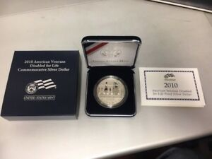 2010 AMERICAN VETERANS DISABLED FOR LIFE PROOF SILVER DOLLAR COIN W/ BOX & COA