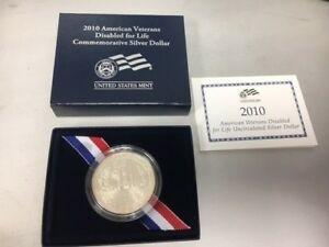 2010 AMERICAN VETERANS DISABLED FOR LIFE UNCIRCULATED 90  SILVER DOLLAR WITH COA