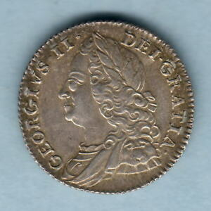 GREAT BRITAIN. 1757 GEORGE 11   SIXPENCE.. GEF AUNC   MUCH LUSTRE