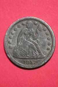 1857 P SEATED LIBERTY HALF DIME EXACT COIN PICTURED FLAT RATE SHIPPING OCE457