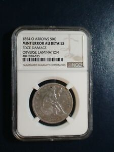1854 O ARROWS SEATED HALF NGC AU MINT ERROR 50C SILVER COIN PRICED TO SELL