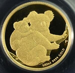 2008 AUSTRALIA KOALA 1/25 OZ GOLD   PCGS GEM PROOF DCAM FIRST STRIKE