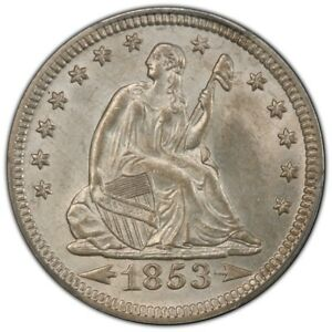 Click now to see the BUY IT NOW Price! 1853 25C ARROWS AND RAYS LIBERTY SEATED QUARTER PCGS MS64  CAC