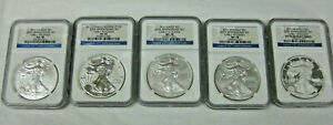 2011 SILVER EAGLE 25TH ANNIVERSARY 5 COIN SET EARLY RELEASE NGC PF70 MS70 NICE
