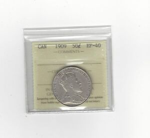 Click now to see the BUY IT NOW Price!   1909   ICCS GRADED CANADIAN SILVER 50 CENT   EF 40