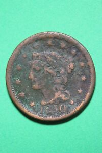 1850 BRAIDED HAIR LARGE CENT EXACT COIN PICTURED FLAT RATE SHIPPING OCE383