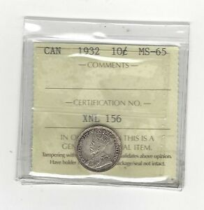 Click now to see the BUY IT NOW Price! 1932 ICCS GRADED CANADIAN  10  CENT   MS 65