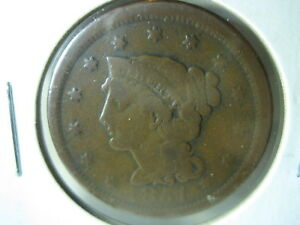 1851 BRAIDED HAIR LARGE CENT/PENNY PRE CIVIL WAR TYPE U.S. COIN NORMAL DATE