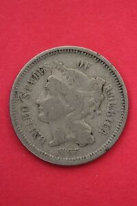 1867 THREE 3 CENT LIBERTY NICKEL EXACT COIN PICTURED FLAT RATE SHIPPING OCE0158
