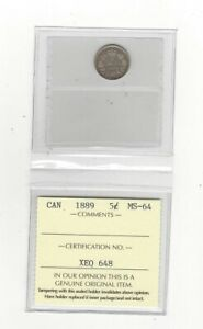 Click now to see the BUY IT NOW Price!   1889   ICCS GRADED CANADIAN  5 CENT   MS 64