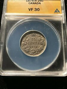 Click now to see the BUY IT NOW Price!   1875H  ANACS GRADED CANADIAN 25 CENT   VF 30