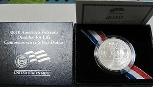 2010 W SILVER DISABLED VETERANS COMMEM IN ORIGINAL GOVERNMENT BOX  224H