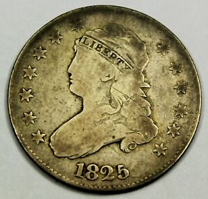 1825/4 UNITED STATES CAPPED BUST QUARTER   VG GOOD CONDITION