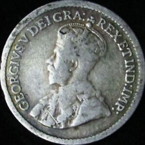 1919 VG  CANADA SILVER 5 CENTS   KM 22