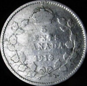 1913 VG DETAILS DAMAGED CANADA SILVER 5 CENTS   KM 22