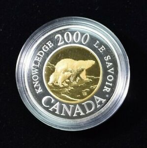 2000 CANADA POLAR BEAR STERLING SILVER AND 22K CENTER GOLD $2   BOX AND COA